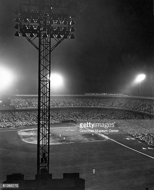 View of the a night baseball game at Crosley Field Cincinnati Ohio mid 1930s Crosley Field had been host to the first night game in major league...