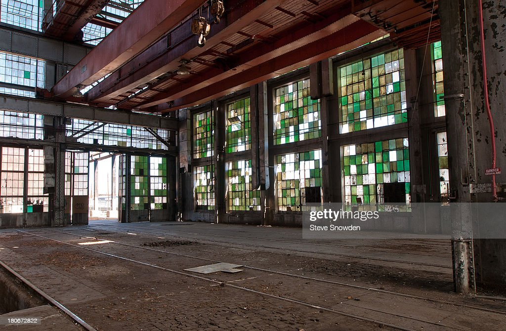A view of the abandoned Santa Fe Railroad Repair Facility at 2nd and Santa Fe SW on February 26, 2008 in Albuquerque, New Mexico. This site and the surrounding neighborhood has played numerous roles in AMC's 'Breaking Bad'. Interiors of some of the shops with their stained glass-look windows can be seen in several of the Season 5 promotional posters.