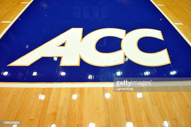 A view of the ACC logo at Cameron Indoor Stadium on October 27 2012 in Durham North Carolina