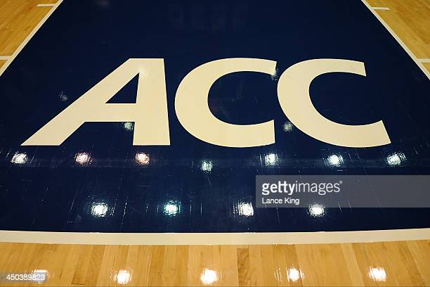 A view of the ACC logo prior to a game between the Drury Panthers and the Duke Blue Devils at Cameron Indoor Stadium on November 2 2013 in Durham...