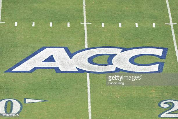 A view of the ACC logo prior to a game between the Duke Blue Devils and the Stanford Cardinal on September 10 2011 at Wallace Wade Stadium in Durham...