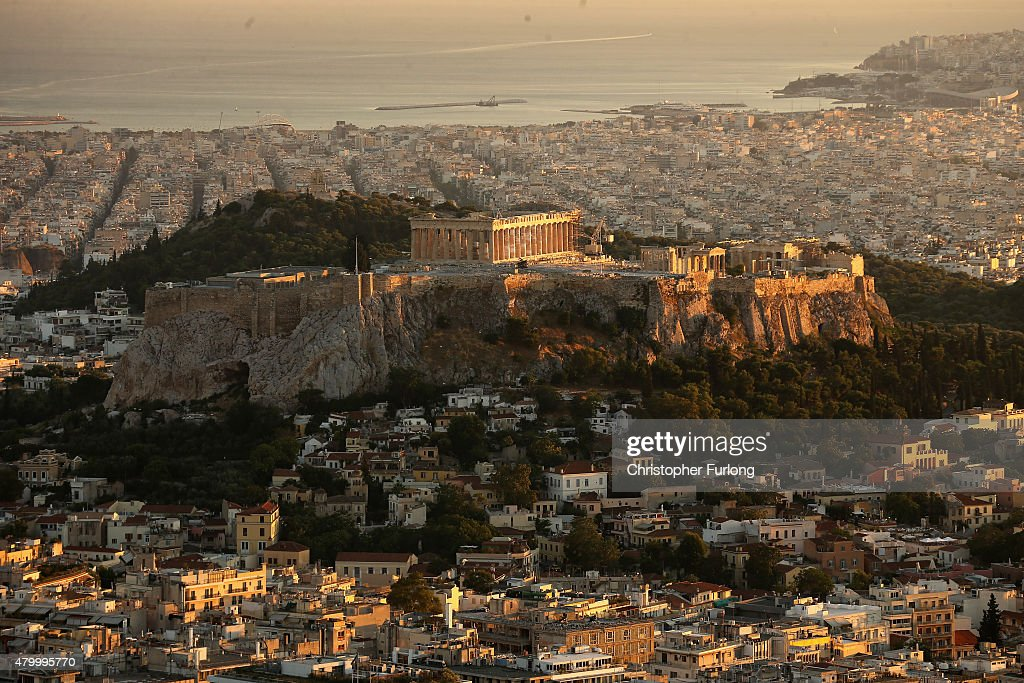 A view of the Acropolis Hill and the Parthenon viewed from Lycabettus Hill on July 8 2015 in Athens Greece Eurozone leaders have offered the Greek...
