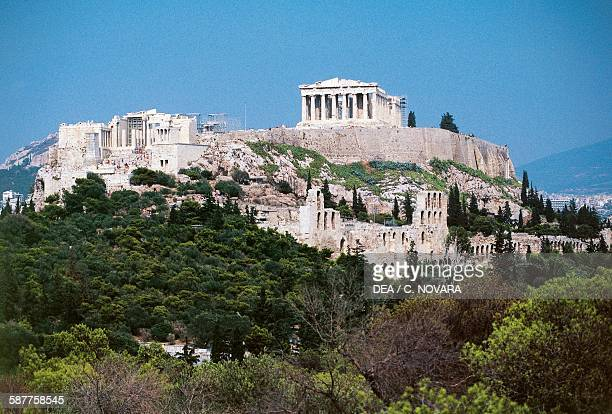 View of the Acropolis of Athens with the Propylaea and the Parthenon 5th century BC and below the Odeon of Herodes Atticus 161174 and the Stoa of...