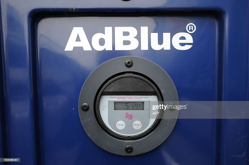 View of the 'AdBlue' logo, an additive for reducing emissions of fine particles, at the Transport Robineau company in Soulitre, western France, on March 12, 2013.