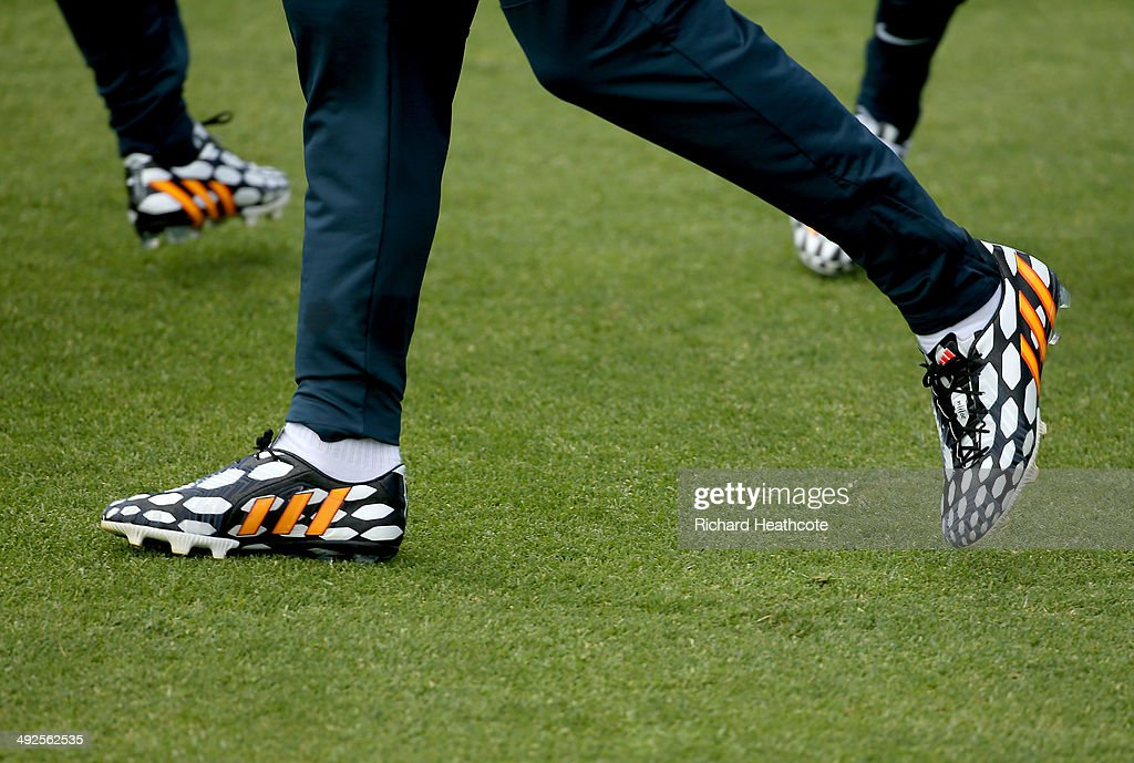 A view of the Adidas sponsored players boots during a training session at the England preWorld Cup Training Camp at the Vale Do Lobo Resort on May 21...