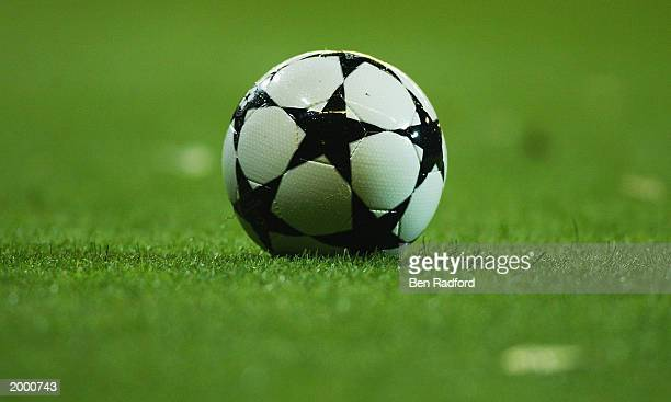 A view of the adidas UEFA Champions league ball during the Champion's League Semi Final between Real Madrid and Juventus on May 6 2003 at the...