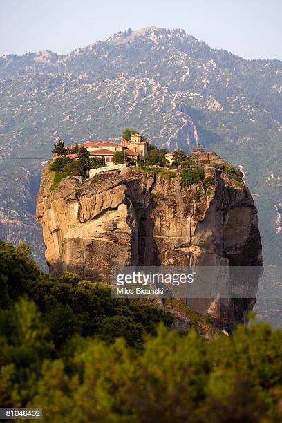 A view of the Agia Triada Monastery at Meteora on May 9 2008 in Athens Greece Monks and hermits have found refuge for over 1000 years at the gigantic...
