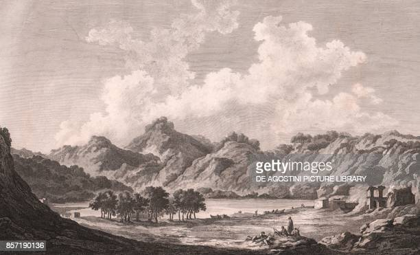 View of the Agnano Lake and the Stoves of San Germano Phlegraean Fields Campania Italy etching 384x253 cm from Voyage pittoresque a Naples et en...
