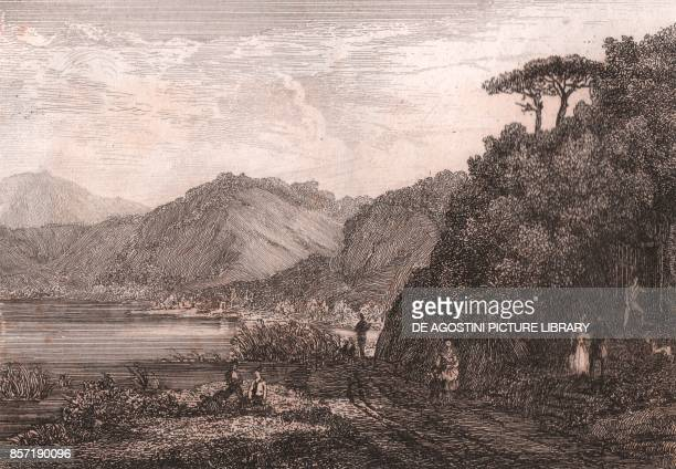 View of the Agnano Lake with the Cave of Dogs Phlegraean Fields Campania Italy steel engraving ca 105x73 cm from L'Italia la Sicilia le isole Eolie...