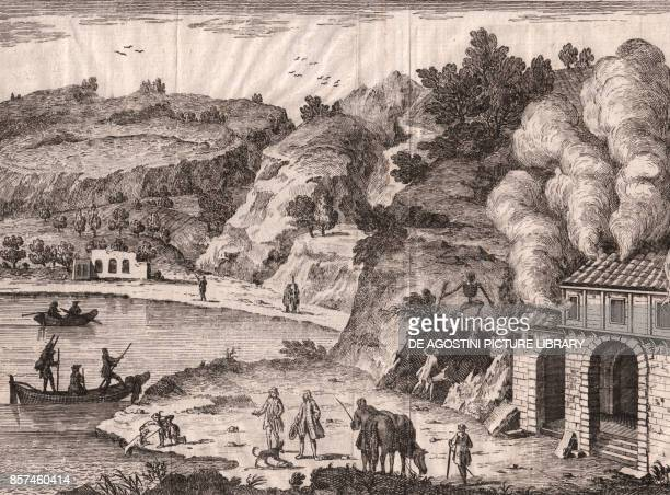 View of the Agnano Lake with the Cave of Dogs Phlegraean Fields Campania Italy copper engraving 20x149 cm from Lo stato presente di tutti i paesi e...