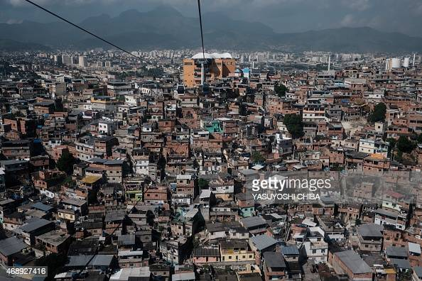 View of the Alemao complex in Rio de Janeiro Brazil on April 8 2015 Fresh violence in Rio's slums has led to growing doubts over the effectiveness of...