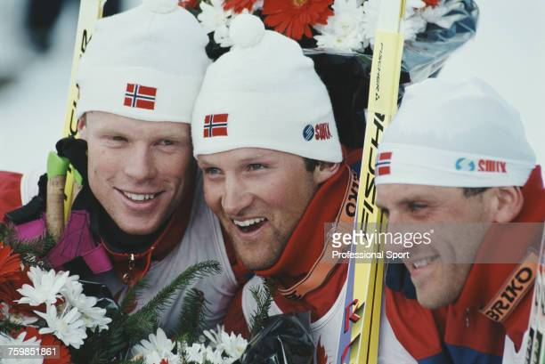 View of the all Norwegian medal winners in the Men's 30 km classical crosscountry skiing event with from left silver medallist Bjorn Daehlie gold...