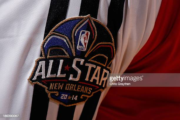 A view of the AllStar patch on the warm up uniforms of the New Orleans Pelicans at the New Orleans Arena on October 30 2013 in New Orleans Louisiana...