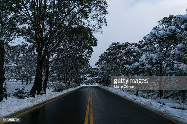 A view of the Alpine Way on June 25 2016 in Crackenback Australia Snow has been forecast across Eastern Australia as cold front continues to bring...