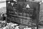 View of the American Air Force Technical Sergeant and gay rights activist Leonard Matlovich's gravestone Washington DC April 25 1993 Matlovich had...