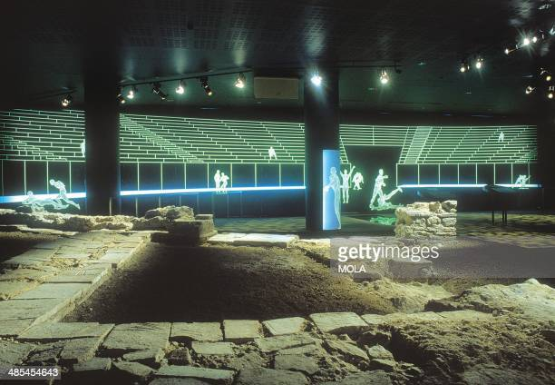 View of the amphitheatre display beneath the Guildhall Art Gallery looking west across the southern side chamber of the eastern entranceway with...