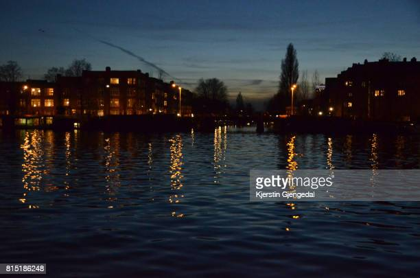 View of the Amstel river at dusk