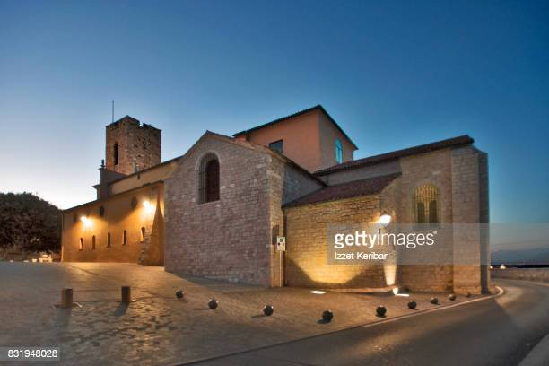 View of the Antibes Cathedral at dusk, Alpes Maritimes, France