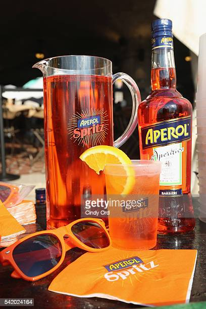 A view of the Aperol Spritz bar at The 7th Annual Saveur Summer Cookout at Boat Basin Cafe on June 21 2016 in New York City