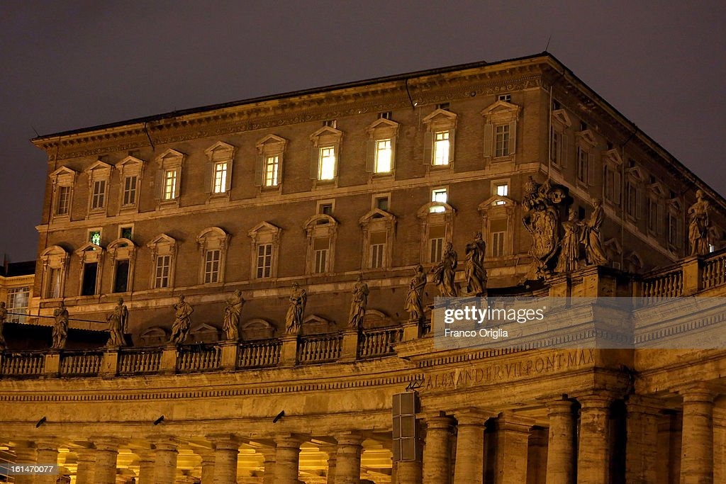 A view of the Apostolic Palace and the windows of the Pope's residence overlooking St. Peter's Square on February 11, 2013 in Vatican City, Vatican. Pope Benedict XVI, born Josef Ratzinger in Germany, announced to Vatican clergy on Monday that he feels too physically frail to continue meeting the demands of being the Pope and will step down officially on February 28.