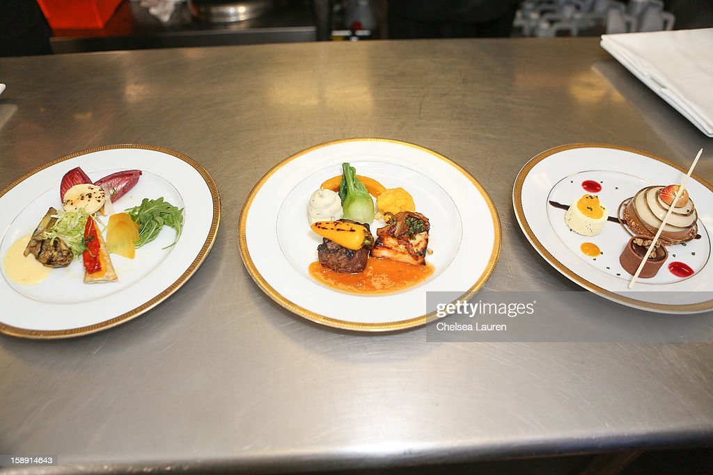 A view of the appetizer, entree and dessert prepared by executive chef Suki Sugiura and executive pastry chef Thomas Henzi for the 2013 Golden Globe Awards at The Beverly Hilton Hotel on January 3, 2013 in Beverly Hills, California.