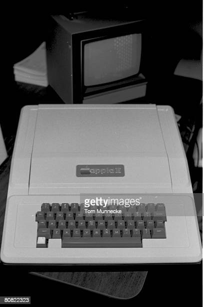 View of the Apple II computer at its unveiling at the first West Coast Computer Faire in Brooks Hall San Francisco California April 16th or 17th 1977