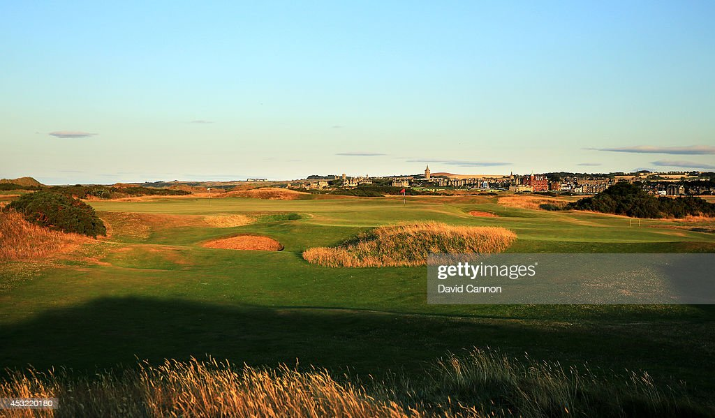 A view of the appraoch to the green on the 465 yards par 4, 13th hole 'Hole O'Cross In' on the Old Course at St Andrews venue for The Open Championship in 2015, on July 29, 2014 in St Andrews, Scotland.