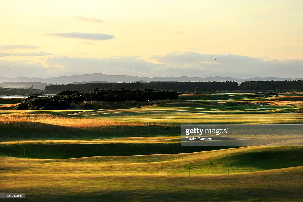 A view of the approach from the 13th fairway in the evening shadows on the 412 yards par 4, 6th hole 'Heatherly Out' on the Old Course at St Andrews venue for The Open Championship in 2015, on July 29, 2014 in St Andrews, Scotland.