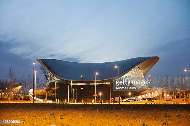 A view of the Aquatics Centre in the Queen Elizabeth Olympic Park in Stratford East London