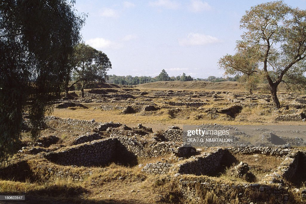 View of the archaeological excavations of ancient Bhir Mound in Taxila Pakistan Indus civilization 3rd century BC