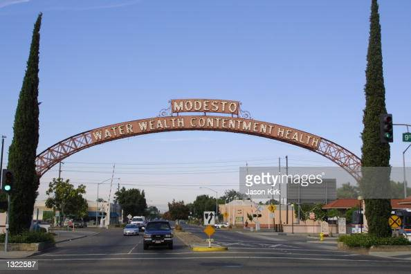 A view of the archway leading into the city of Modesto July 5 2001 in Modesto CA Chandra Ann Levy the daughter of Robert and Susan Levy just finished...