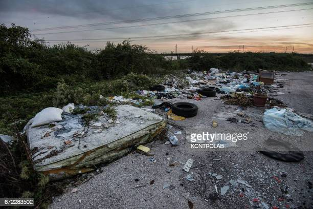 A view of the area called Land of Fires 'Terra dei Fuochi' in Caserta southern Italy the area is suspected full of illegal dump and toxic refuse