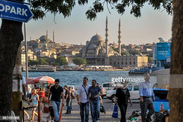 View of the area near the foot of Galata bridge in Karak_y In the background the New Mosque can be seen at the water's edge on the opposite bank of...