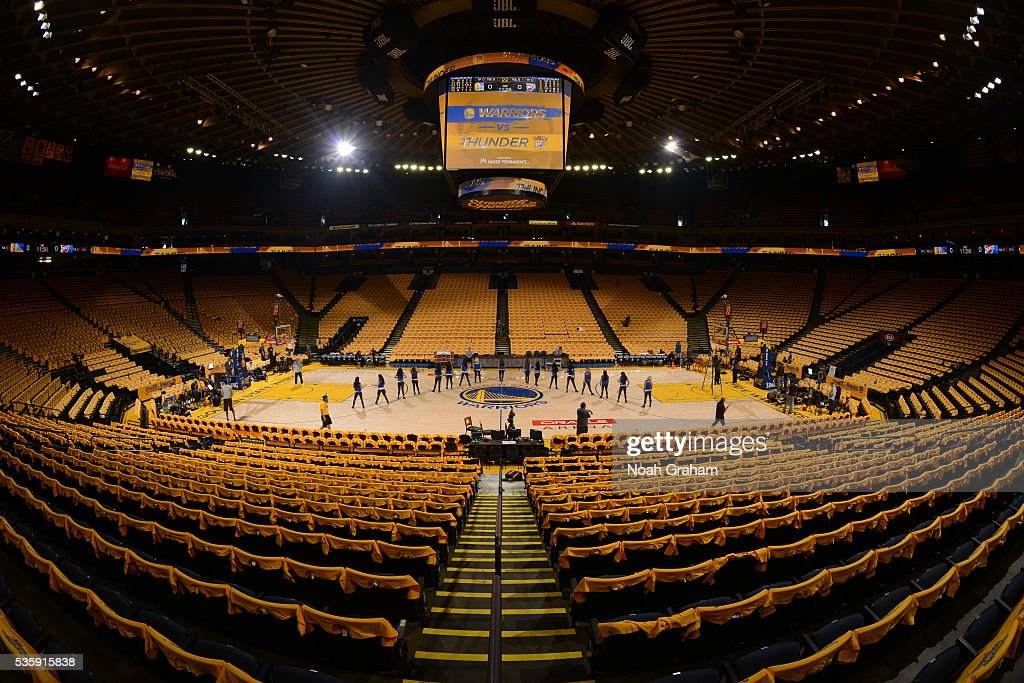 A view of the arena before the game between the Golden State Warriors and the Oklahoma City Thunder in Game Seven of the Western Conference Finals during the 2016 NBA Playoffs on May 30, 2016 at ORACLE Arena in Oakland, California.