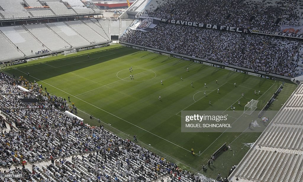 View of the Arena Corinthians stadium on May 10, 2014 in Sao Paulo, Brazil. The Arena Corinthians will host the opening match of the FIFA World Cup Brazil 2014 between Brazil and Croatia on June 12. AFP PHOTO/Miguel SCHINCARIOL