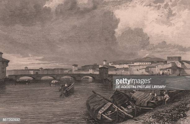 View of the Arno River in Pisa Tuscany Italy steel engraving by Thomas Higham after a drawing by James Duffield Harding published in London