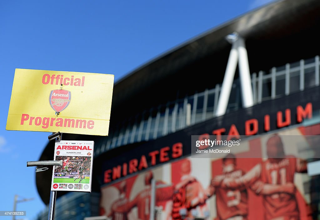 A view of the Arsenal programme outside the Emirates Stadium prior to the Barclays Premier League match between Arsenal and Sunderland at Emirates Stadium on February 22, 2014 in London, England.