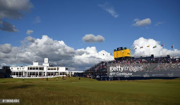 View of the ArtDecostyle clubhouse seen from the 18th fairway on the first day of the Open Golf Championship at Royal Birkdale golf course near...