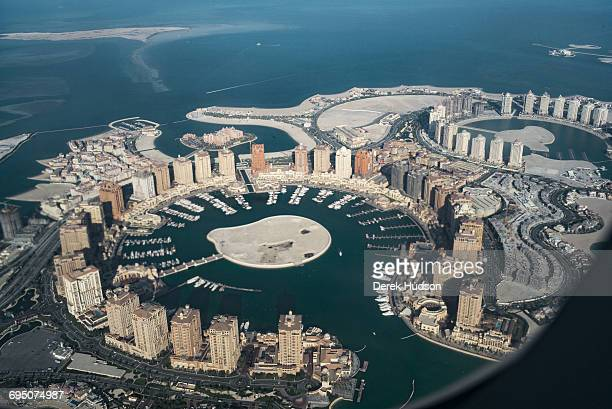A view of the artificial island known as The Pearl that spans nearly 4 million square meters jutting out from the city of Doha 350 metres offshore of...