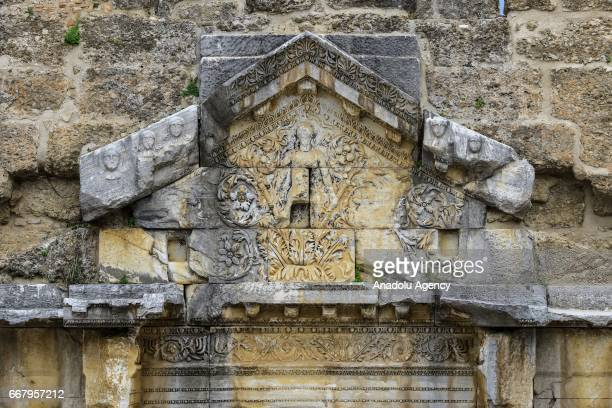 A view of the Aspendos an ancient GrecoRoman city in Antalya Turkey on April 13 2017 Aspendos and Perga are two of the most touristic places visited...
