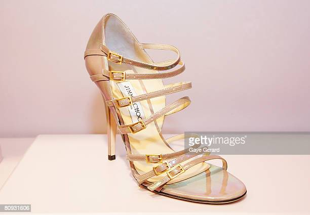 View of the 'Atlas ' shoe worn by Carrie Bradshaw in the new 'Sex in the City Film' at the launch of the new Jimmy Choo boutique at Castlereagh...