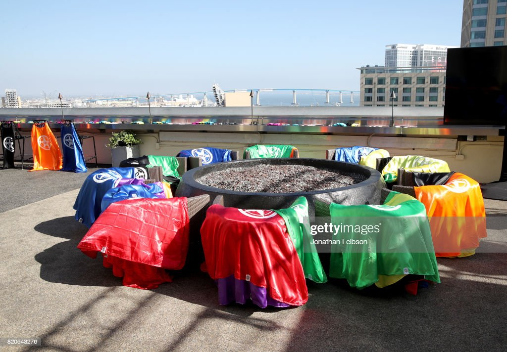 A view of the atmosphere at BuzzFeed & The CW Present SRSLY The Best Damn Superhero Party! on July 21, 2017 in San Diego, California.