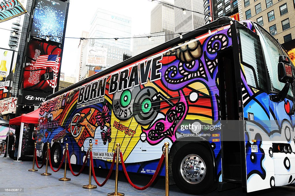 A view of the atmosphere at Lady Gaga's Born Brave Bus Tour at Times Square on March 23, 2013 in New York City.