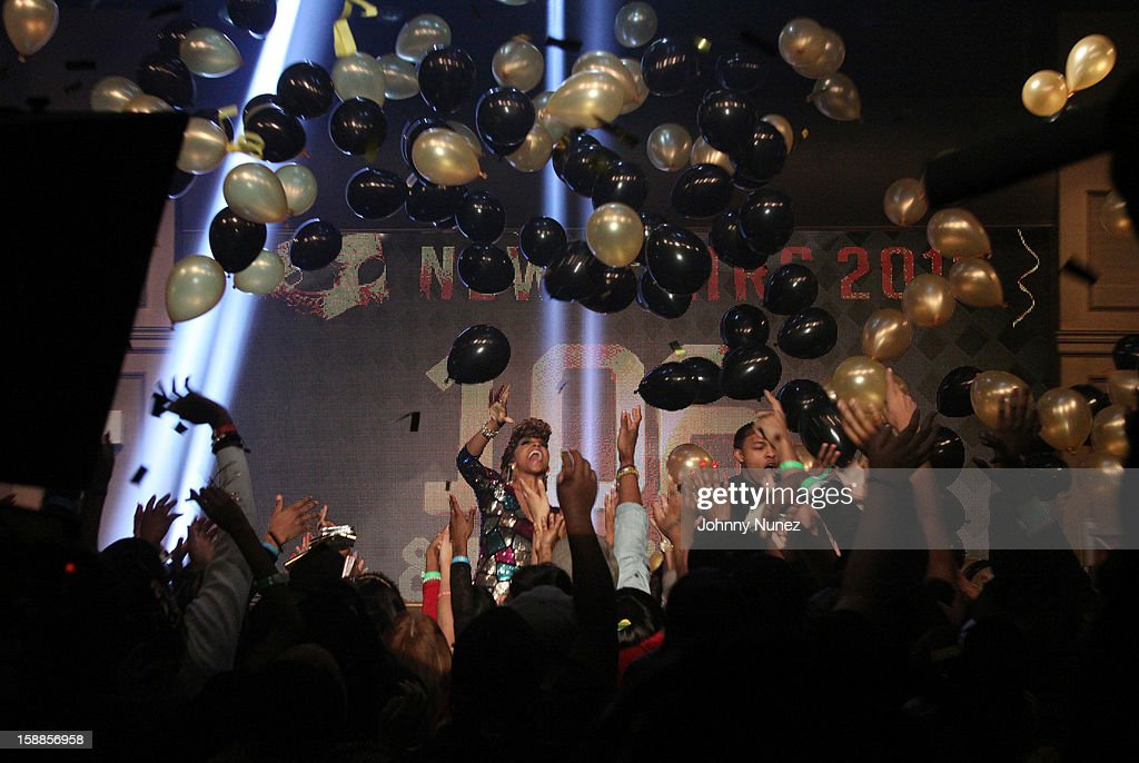 A view of the atmosphere at the BET '106 & Party' New Years Eve celebration on December 31, 2012, in New York City.