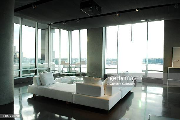 A view of the atmosphere at the La Mer Celebrates 'Liquid Light' By Fabien Baron at The Glass Houses on September 10 2008 in New York City