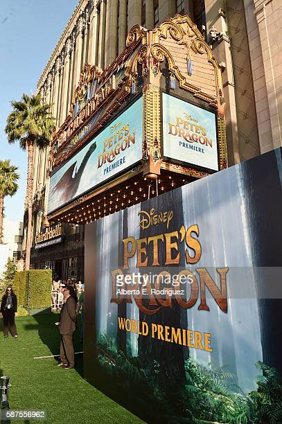 A view of the atmosphere at the world premiere of Disney's 'PETE'S DRAGON' at the El Capitan Theater in Hollywood on August 8 2016 The new film which...