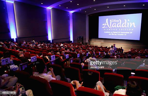 A view of the atmosphere during a special LA screening celebrating Diamond Edition release of 'ALADDIN' at The Walt Disney Studios on September 27...