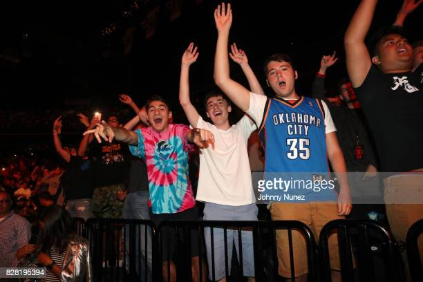 A view of the atmosphere during the Logic And Joey Bada$$ concert at Barclays Center on August 8 2017 in New York City