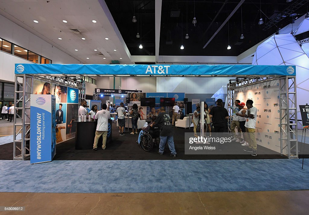A view of the AT&T booth at FAN FEST during the 2016 BET Experience on June 25, 2016 in Los Angeles, California.