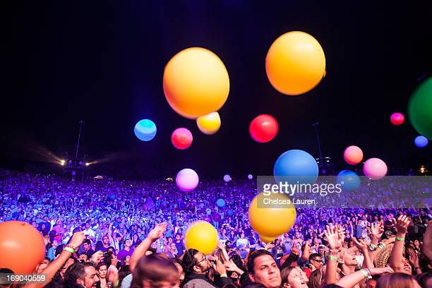 A view of the audience as 30 Seconds to Mars performs at the KROQ weenie roast y fiesta at the Verizon Wireless Amphitheater on May 18 2013 in Irvine...
